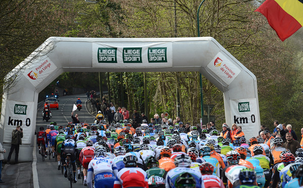 Only 257.5-kilomeyres to go as the peloton passes the 'Kilometre 0' mark in Liege...