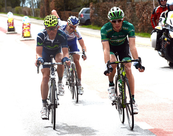 Pierrre Rolland has jumped away for the peloton with Kiryienka and Lelay...