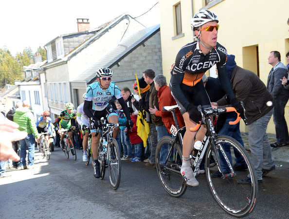 Greg Hebeaux leads the esacpe on to the Cote de Saint-Roche on their way back to Liege...