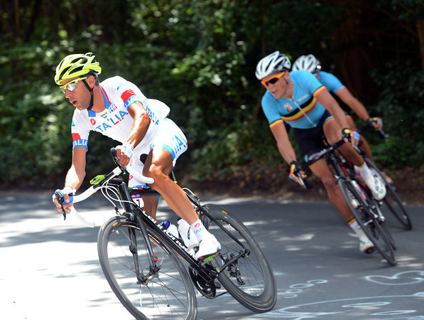Vincenzi Nibali makes an attack now, taking Van Avermaet and Gilbert with him...