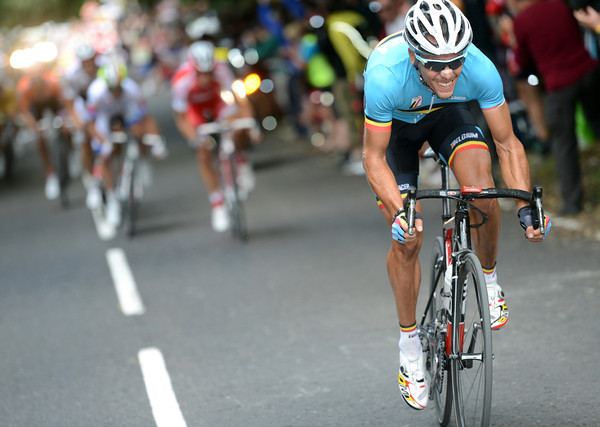 Right out in front, Gilbert attacks as the race leaves the hills behind...