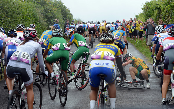 Robyn DeGroot falls as the race climbs Staple Lane...
