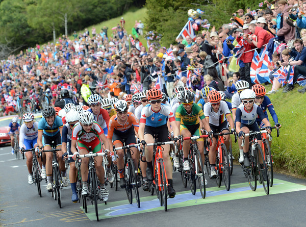 The peloton climbs Box Hill with Clara Hughes and Emma Pooley at the head of affairs...