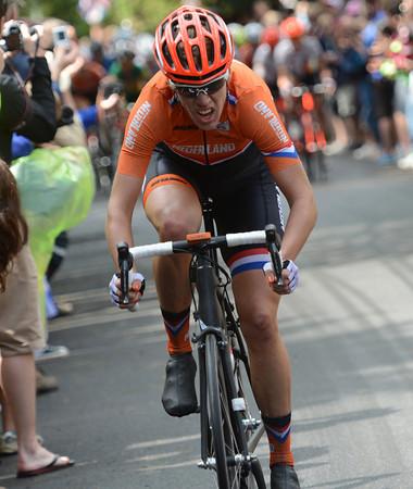 Ellen Van Dijk attacks at the start of the second climb of Box Hill...