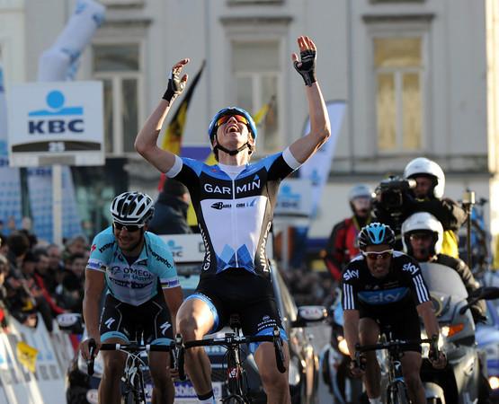 Sep Van Marcke wins Omloop Het Nieuwsblad - what a great result for the young Belgian..!