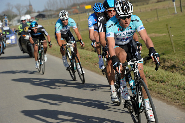 Devenyns leads the race now, with Hayman, Van Marcke, Boonen and Flecha there - Hushovd and Breschel have been dropped...