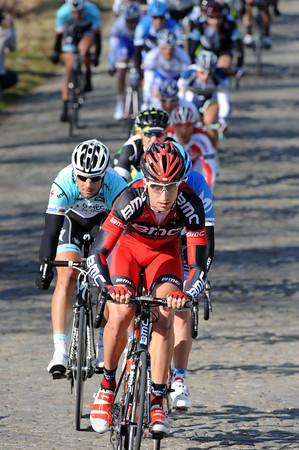 As a sign of respect, Tom Boonen follows Taylor Phinney in fast pursuit on the first of three laps at Haaghoek...