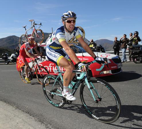 De Gendt leads Taaramae up the first climb at 78-kilometres...