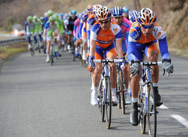 Rabobank is still chasing, 40-kilometres after it started - and the gap is down to about one-minute now...