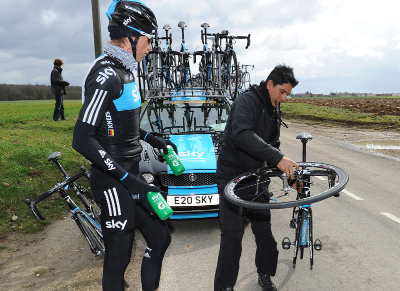 Christian Knees sets a mighty task for his Sky mechanic in the opening kilometres...