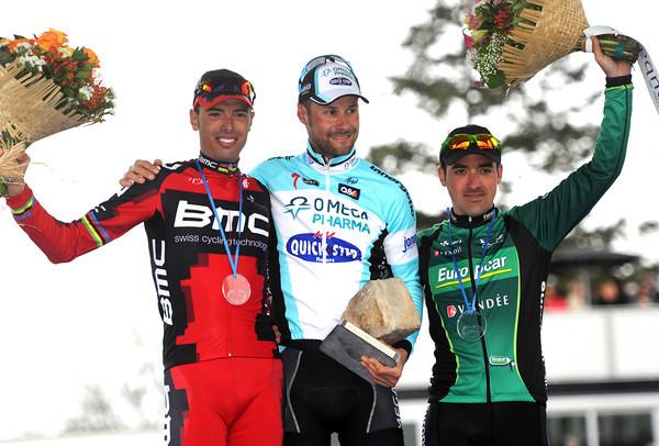 Tom Boonen shares HIS podium with Sebastian Turgot and Alessandro Ballan