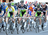 Green Edge controls the peloton, with Gerrans and O'Grady leading the way...