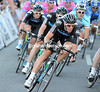 Team Sky is rushing to the front, led by Matthew Hayman...
