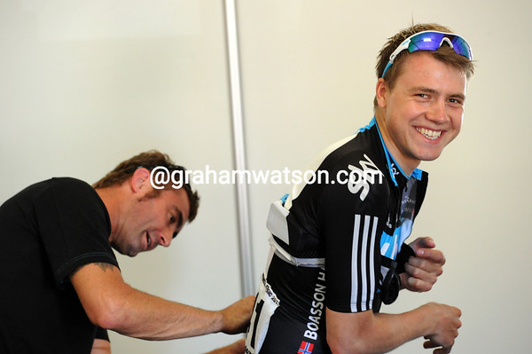 No sign of pre-race nerves for Edvald Boasson Hagen then..!