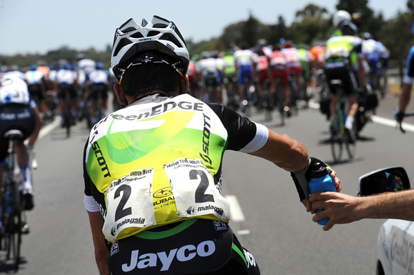Robbie McEwen starts life as a water carrier for Green Edge...