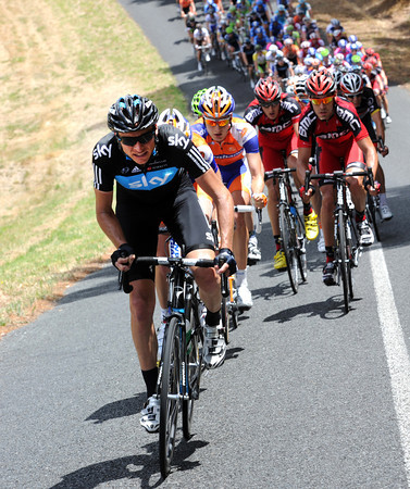 Team Sky now takes an interest with Danny Pate chasing hard - Clarke's lead is down to around ten-minutes now...