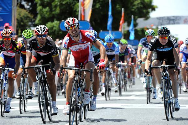 Oscar Freire wins stage four from Gerald Ciolek and Daniele Bennati...
