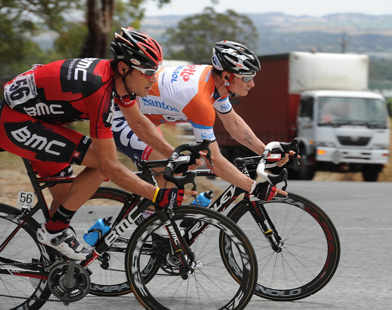 Race-leader Andre Greipel is already two-minutes down after the long descent from Menglers...