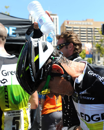 Some ice-cold water is needed for McEwen at the end of a very hot day...