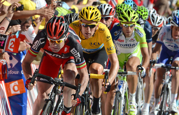 Cadel Evans launches his familiar sprint into the finish - but bigger things are planned for tomorrow..!
