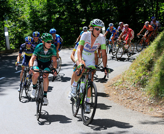 Koen De Kort is at the head of a 17-man escape as it climbs the Col du Grand Chucheron...