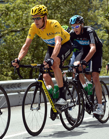 Bradley Wiggins is following every move, as is his teamate Chris Froome...