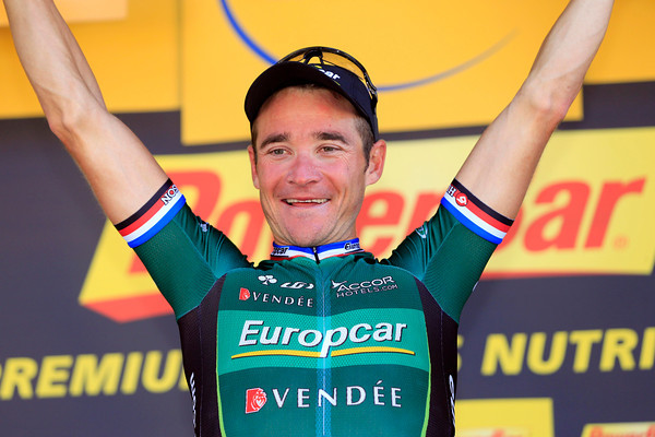 Thomas Voeckler celebrates winning stage sixteen into Bagneres-de-Luchon...