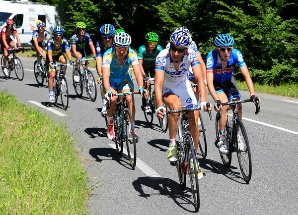Sandy Casar leads the big escape on to the Col d'Aubisque with a four-minute lead...