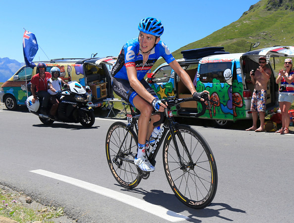 Dan Martin has gone off alone on the Tourmalet...