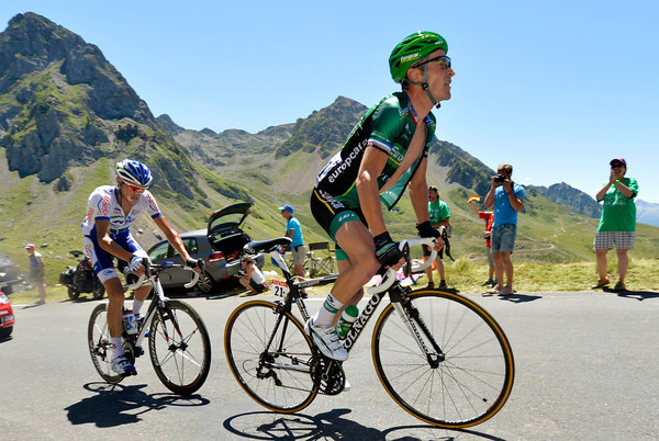 Thomas Voeckler and Brice Feillu have passed Martin well before the summit and gained a one-minute lead over the original escape group...