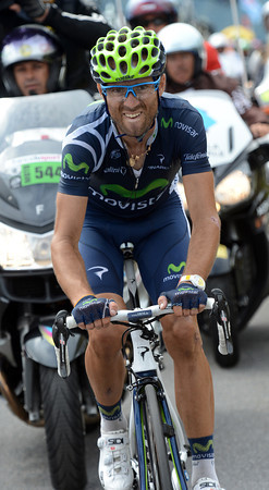Valverde nears the summit of the Peyresourde with his lead at about two-minutes over the Wiggins group...