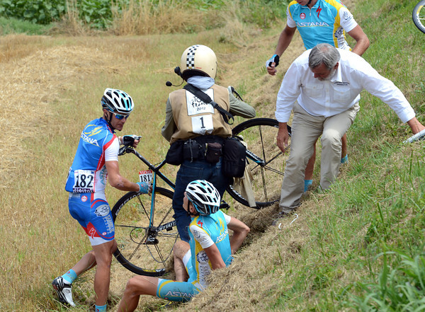 Jani Brajkovic has crashed into a field, but he's not too badly injured...