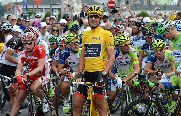 Fabian Cancellara is all smiles before the start in Rouen...