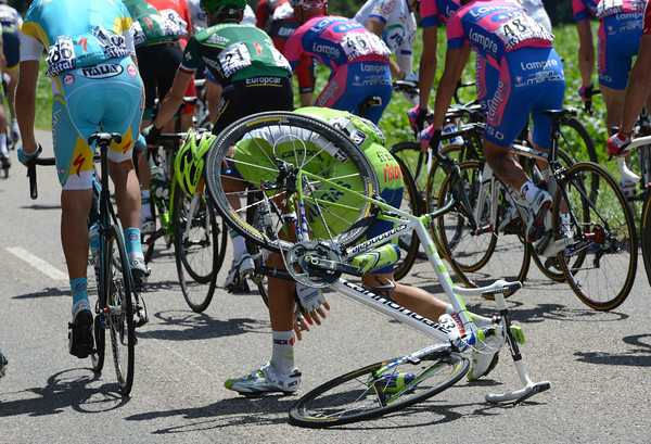 Federico Canuti has got himself into a compromising situation at the back of the peloton...