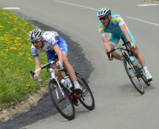 Jeremy Roy is trying to escape in the early kilometres of the stage - but no-one's getting far today..!