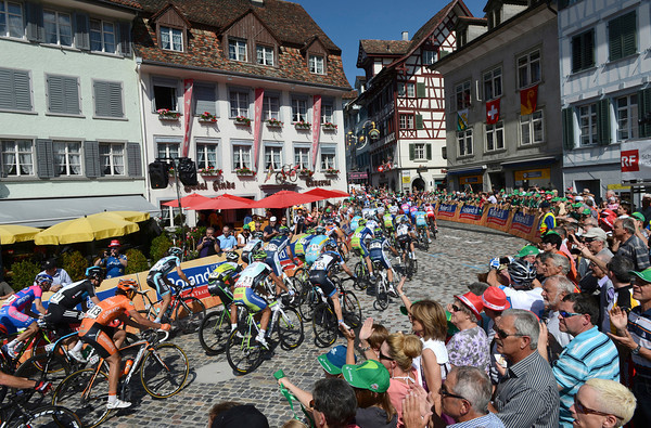The peloton enters Bischofszell for the first of three laps...