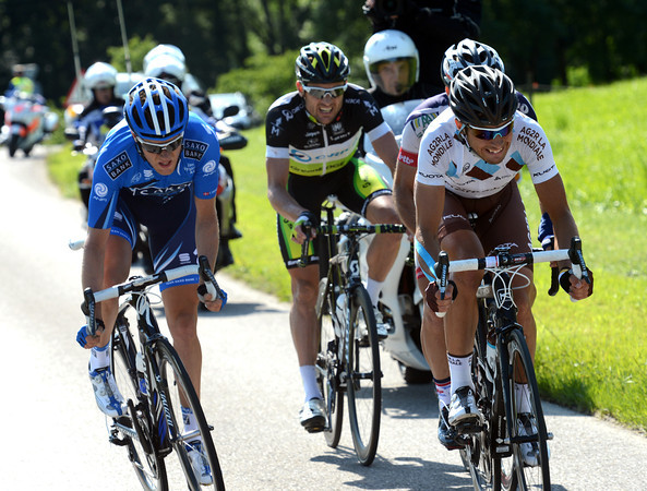 Matteo Montaguti is working hard to keep the escape away - they still have four minutes over the peloton...