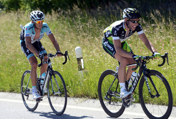 Albasini and Velits are about four minutes in front as the first part of the climb levels out...