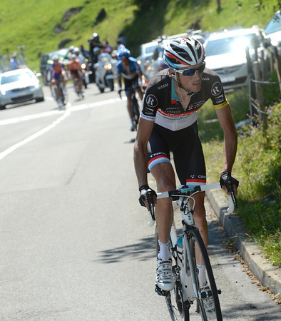 Frank Schleck makes his own attack, and pulls away from his rivals...
