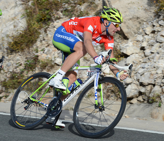 Elia Viviani descends many minutes later, all hope of keeping the race-lead now over...