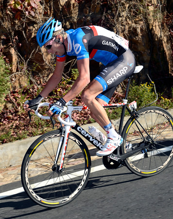 Ryder Hesjedal has attacked from the peloton and is bridging the gap to the dropped escapers...