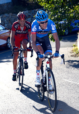 Hesjedal races towards the summit with only Cummings for company and 25-kilometres to go...