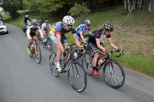 The escape speeds down one of the smaller descents on the way back into Santa Rosa, trying to keep their hopes alive.