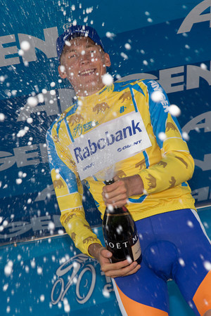 Robert Gesink celebrates his victory at the 2012 Amgen Tour of California.