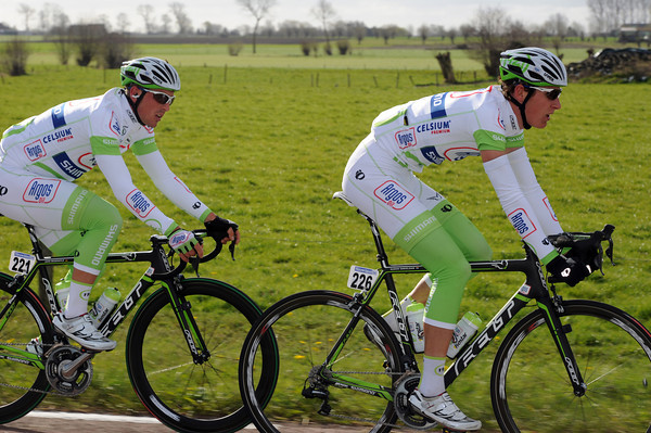 Ramon Sinkledam and john Degenkolb are wearing their new 'Argos' kit for the first time today...