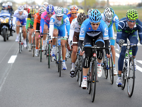 There's been an amazing start - 15 riders have sped away, led by Tyler Farrar...