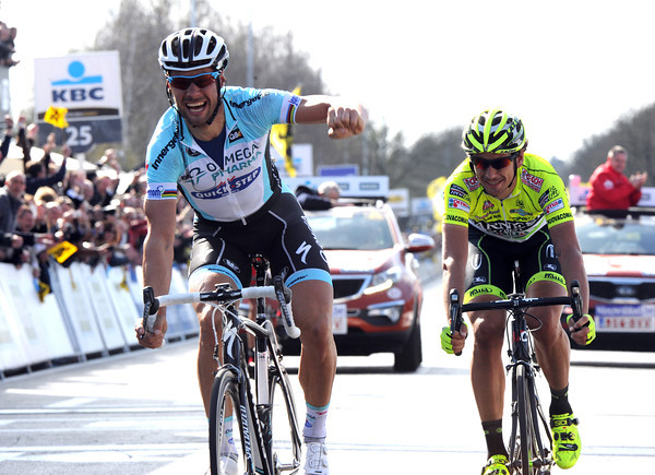 Tom Boonen celebrates a third Tour of Flanders victory - and his third Classic in three attempts this year..!