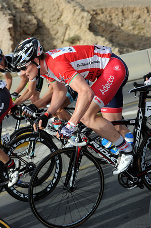 Andre Greipel has coped exceedingly well with the hills today, he's not far back from O'Grady's pace...