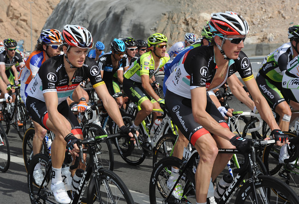 Andy Schleck and Jacob Fuglsang are near the front - and looking good on this hilly stage...