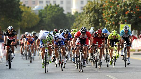 Sagan still has enough power left to lead out the final sprint against Greipel...